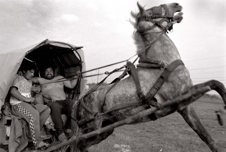 Wandernomaden auf dem Weg zurück in ihr Zeltlager in der Nähe der nordrumänischen Stadt Marghita. Foto: Rolf Bauerdick