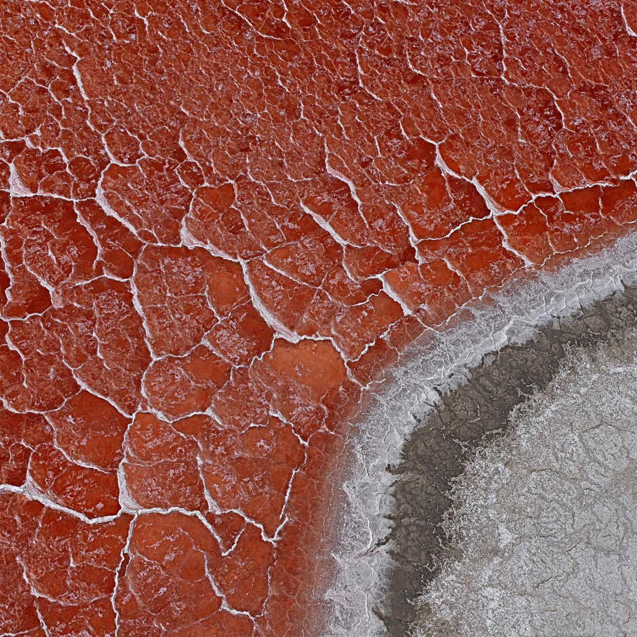 Der Searles Lake hat keinen Abfluss. Hin und wieder sammelt sich dort Regenwasser, welches in der Hitze allmählich verdunstet. Der See wird zu einem Salzsumpf und trocknet aus. Mikroorganismen, die im Seeboden schlummern, beginnen sich zu vermehren. Sie tragen einen Farbstoff im Körper, wie man ihn auch in Tomaten findet. Er macht die Salzkruste rot. Searles Lake, Kalifornien, USA. Foto: Bernhard Edmaier