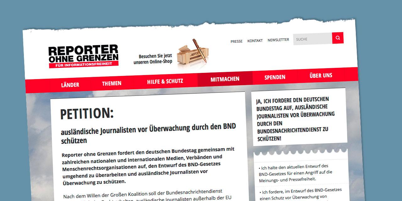 Die Unterzeichner des Aufrufs betonen, dass Spionage gegen Journalisten – egal wo auf der Welt – ein Angriff auf die Pressefreiheit ist. Illustration: Reporter ohne Grenzen