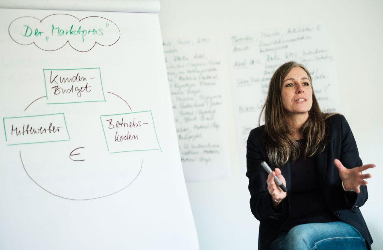 Silke Güldner gab den Teilnehmer*innen des Workshops »Honorare & Nutzungsrechte in der Jobpraxis« in Berlin wertvolle Tipps zum Erzielen angemessener Honorare. Foto: Axel Hess